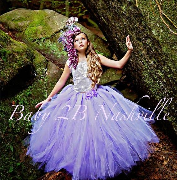 Lavender Dress Cameo Lace Dress Purple Dress Tulle Dress Flower Girl Dress  Wedding Dress Party Dress Toddler Tutu Dress Girls Dress