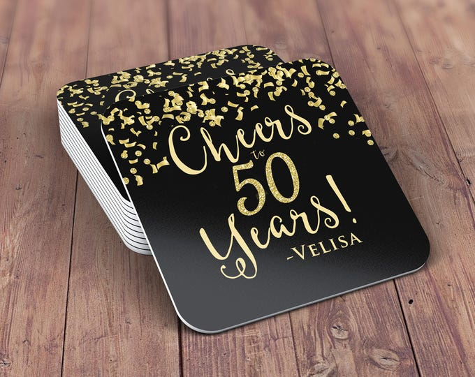 Digital logo file, Cheers invitation, 21st, 30th, 40th, 50th, 60th, 70th, Surprise Birthday Party, adult birthday, confetti and glitter