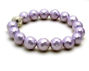Lavender Minimalist Beaded Shell Bracelet Pastel  Purple Stretch   For Her Under 50, Free Gift Wrap