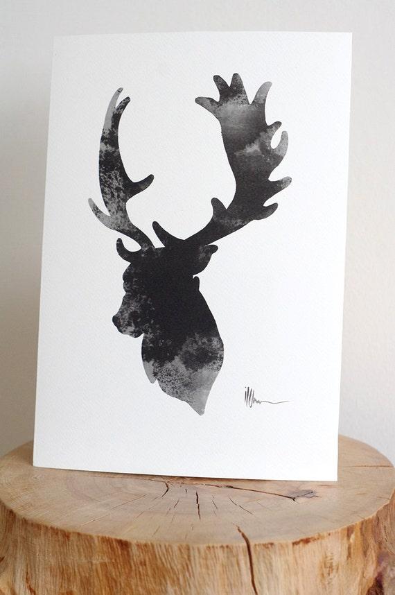 Hirsch Kopf Abbildung grauen Hirsch Kunst Deer Giclée Fine