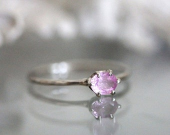 Spring Sales - Pink Princess - Pink Sapphire 14K Gold Ring, Gemstone Ring, Stacking Ring, Eco Friendly, Recycled Gold - Custom Made For You