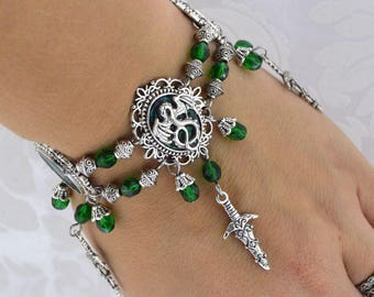 Dragon Charmer - green and antique silver tone dragon charm  bracelet