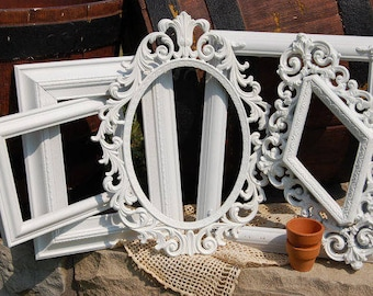 Shabby Chic Distressed Picture Frames /White Rustic Frame Set / Gallery Frame Set