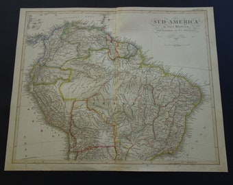 large 1858 antique map of south america original old hand colored print continent