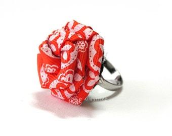 Glittery Orange Rose Ring