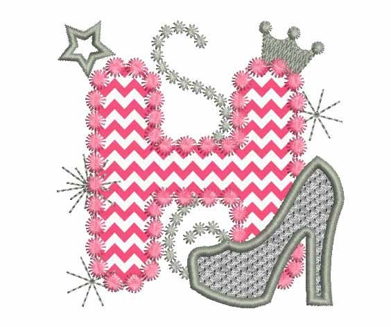 Silver Letter H: Pink Silver Letter H High Heel Shoe For Cute Girls Applique
