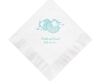 Two Seashells Design Wedding Napkins Personalized Set of 100 Napkins Beach Wedding Ideas