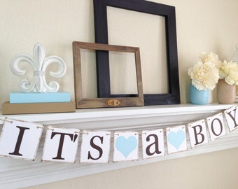 IT'S A BOY Banner - Baby Shower Decorations - Baby Announcements - It's A Boy Banner