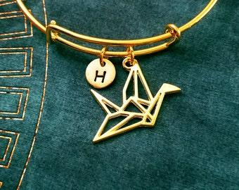 Paper Crane Bangle Origami Crane Bracelet Japanese Jewelry Geometric Crane Charm Gift Stackable Bangle Adjustable Bangle Personalized Bangle