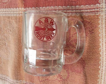 """Vintage Glass """"Baby Beer"""" Mug, Featuring the A & W Root Beer Bullseye Logo - made by Anchor Hocking - 1950's"""