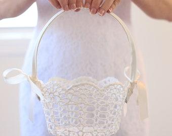 Lace Flower Girl Basket Flower Girl Basket Crochet Lace Flower Girl Basket Simple Flower Girl Basket Classic Wedding Simple Wedding CUSTOM