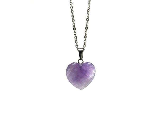 PURPLE HEART: amethyst crystal heart necklace