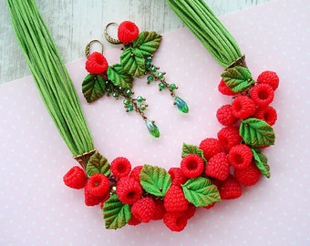 Bright necklace and earrings with raspberry berries from polymer clay