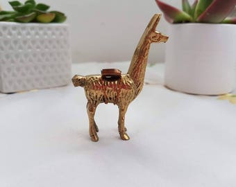 Brass lama, lama figurine, miniature lama, vintage lama, zoo figurines, farm animals figurines,free UK shipping