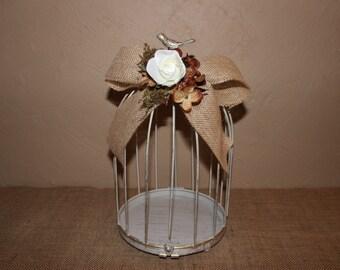 Wedding Birdcage Cardholder /  Burlap Wedding Birdcage / Wedding Cardholder