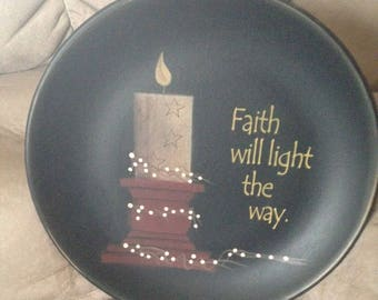 Faith Will Light the Way Round Plate