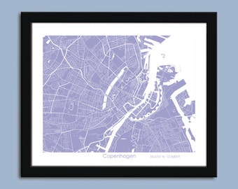 Copenhagen map, Copenhagen city art map, Copenhagen wall art poster, Copenhagen decorative map