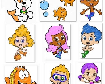 "Bubble Guppies 2x2"" Set of 9 Digital PES Full Embroidery Designs INSTANT DOWNLOAD ~ Set of 9 in 2x2 Size Only"