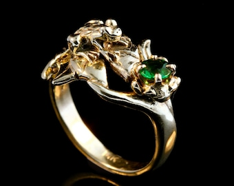 Gold Frog Ring Gold Lily Pad Ring Green Tsavorite Lily Pad Frog Ring Frog Jewelry Gold Frog Waterlily Ring