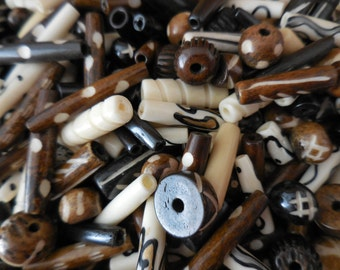 50 Ethnic Carved Bone Beads Bead Lot Mixed sizes and colors