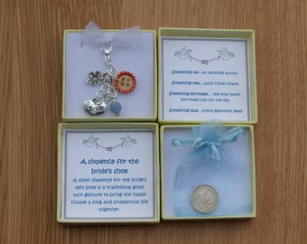 Lucky Silver sixpence for the bride's shoe. Wedding bouquet charm. Bridal charm. Something old, new, borrowed and blue. Bride good luck gift