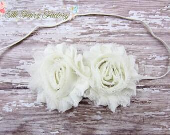Ivory Flower Headband, Chiffon Rosettes Duo Headband or Hair Clip, Baptism, Christening, Newborn Baby Infant Toddler Child Girls Headband