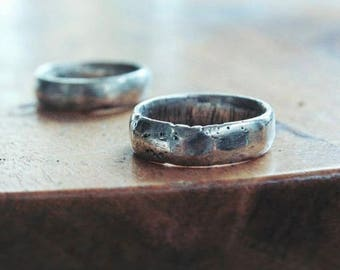 Custom Silver Wedding Band | Mens Silver Wedding Ring | Hammered Sterling Silver Ring | Male Wedding Band | Women Rustic Silver Rings