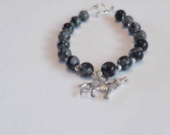 Snowflake obsidian- silver - wolf bracelet