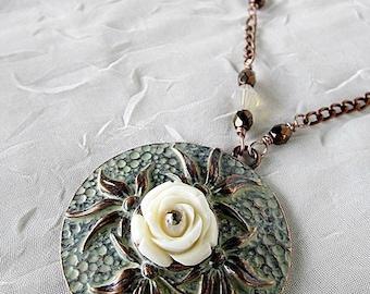 Rose Pendant Necklace, Rose Pendant, Rose Flower Pendant, Round Rose Pendant, Painted Copper w Rose Pendant, Floral Rose Pendant, Roses