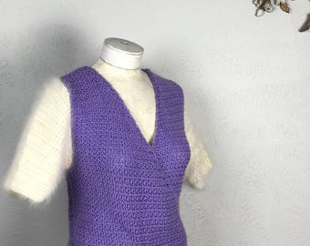 1970s Purple Knit Wrap Sweater Blouse with Angora Sleeves