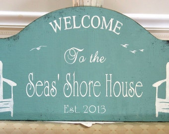 Shore house sign custom personalized, Jersey shore sign, rustic hand painted wooden beach house sign,  realtor housewarming gift