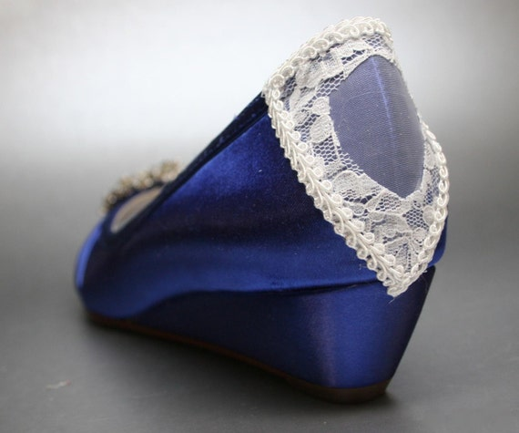 Items Similar To Wedding Shoes    Royal Blue Peeptoe Wedges With Rhinestone  Cluster And Lace Corset On Heel On Etsy