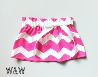 Pink Chevron Skirt, Bright Pink Chevron Skirt, Handmade Girl's Skirt, Thick Pink Chevron, Newborn Baby to Toddler Girl