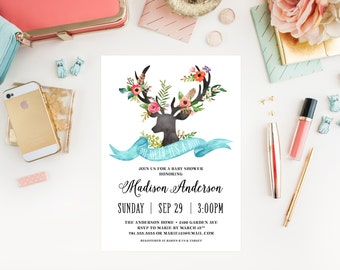 Bohemian Stag Baby Shower Invitation