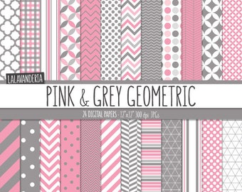 Geometric Digital Paper Package with Pink and Grey Backgrounds. Printable Papers - Pink and Gray Geometrical Patterns. Digital Scrapbook