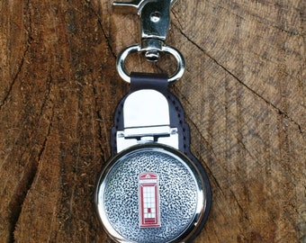 Telephone Box Clip on Pocket Fob Watch British Leather Fob Gift