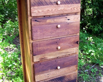 Reclaimed Wormy Chestnut Tallboy Lingerie Dresser from Antique Barn Wood
