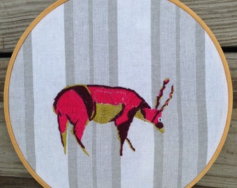 Framed 8x9 Handmade Hoop Embroidery of Whimsical Deer