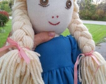 Hand-sown home spun Doll