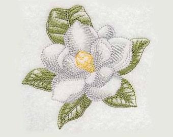 Magnolia Beauty Tea Towel   Embroidered Kitchen Towel   Personalized Kitchen   Embroidered Towel   Flower Towel   Birthday Gift