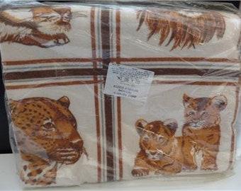 """Lion Jungle Portraits Patchwork Blanket Cluster 80x90"""" Brown Beige USA Vintage"""