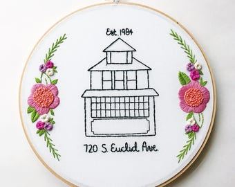 First Home Gift. First Home Sign. First Home Announcement. New Homeowners, New Home Announcement, Embroidered House Replica KimArt Designs