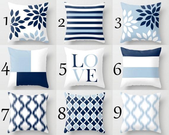 Navy Blue Decorative Bed Pillows: Throw Pillow Covers Light Blue White Navy Blue Pillow