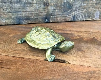 Brass Turtle Ashtray or Trinket Box ~ Hinged Lid ~ Art Deco Style ~ 1960's era ~ Made in China ~ Vintage Tortoise
