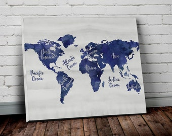 Navy world map wall art canvas world map print in navy blue navy blue world map canvas wall art with continent names watercolor world map canvas print gumiabroncs Gallery
