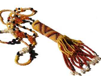 """Beadwoven Rainstick Necklace of Amber and Black Onyx """"African Queen"""""""
