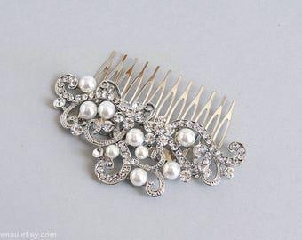 Boda peine peine pelo nupcial Swarovski peine del pelo blanco perla rhinestone Swarovski cristal boda plata de pelo peine peine de filigrana