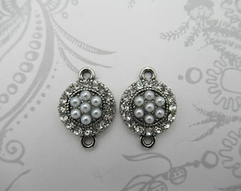 Rhinestone & Pearl Connectors - Round Antique Silver Charms - Vintage Style Pendants - 2 Loops - Retro Jewelry Supplies - Qty 2 *NEW ITEM*