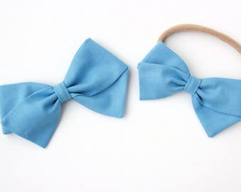 Sky Blue Hair Bow - Fabric Hair Bows for Girls - Nylon Headbands and Hair Clips for Girls