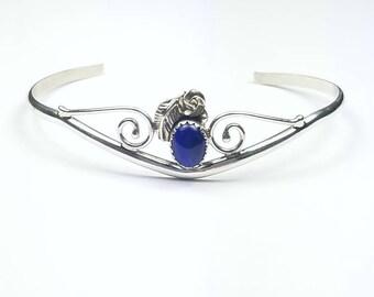 Native American Navajo handmade Sterling Silver Lapis cuff bracelet